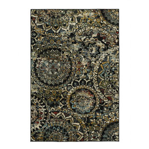 Contemporary Ornamental Multicolor Rectangular: 5 Ft. x 7 Ft. Rug