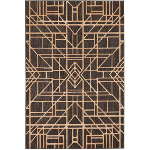 Contemporary Geometric Black Rectangular: 5 Ft. 3 In. x 7 Ft. 10 In. Rug