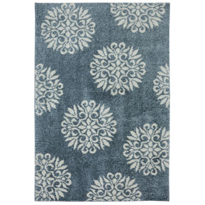 Exploded Medallions Bay Blue Rectangular: 3 Ft 4 In x 5 Ft 6 In Rug