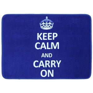 Keep Calm Carry On Royal Rectangular: 1 Ft 5 In x 2 Ft Bath Mat