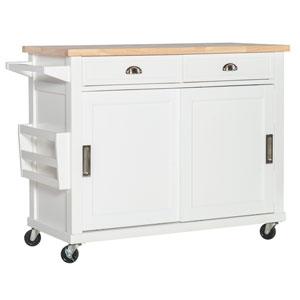 Giovanni White Kitchen Cart