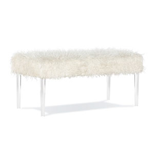 Waylon White Acrylic Leg Bench
