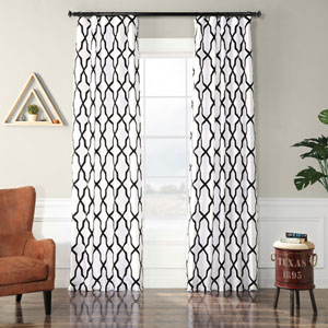 Ridged Diamond White and Black 84 x 50 In. Flocked Faux Silk Curtain Single Panel