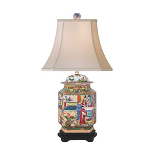 Porcelain Multicolored 25-Inch One-Light Canton Jar Table Lamp