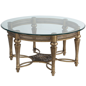 Galloway Glass Round Cocktail Table w/ Glass Top