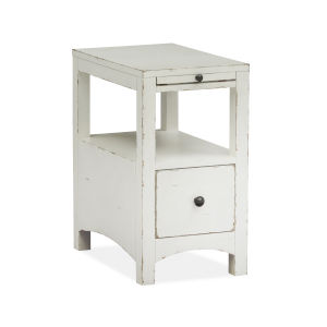White Wood one-Drawer Chairside End Table