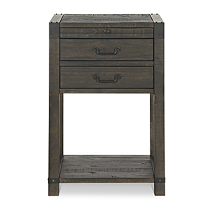 Abington 2 Drawer Open Nightstand in Weathered Charcoal