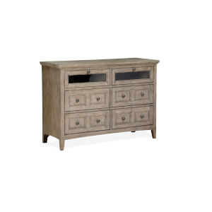 Paxton Place Dove Tail Grey Wood Media Chest