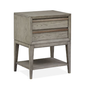 Atelier Nouveau Grey And Palladium Wood Open Nightstand