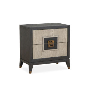 Ryker Nocturn Black and Coventry Gray Nightstand with Drawer