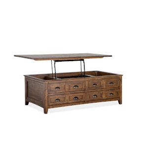 Bay Creek Toasted Nutmeg Lift Top Storage Cocktail Table with Caster