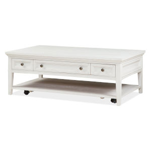 Heron Cove Chalk White Rectangular Cocktail Table with Caster
