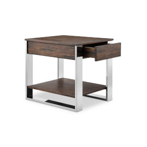 Duvall Chadwick Mocha And Stainless Steel End Table
