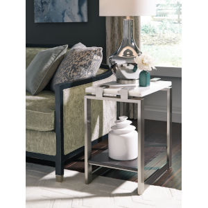 Paradox White And Brushed Platinum 24-Inch End Table