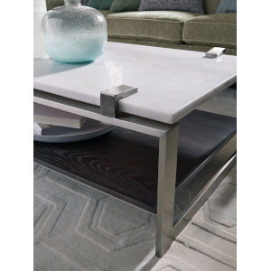 Paradox White And Brushed Platinum Cocktail Table