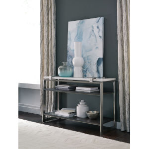 Paradox White And Brushed Platinum Sofa Table