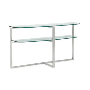 Medlock Stainless Steel and Tempered Clear Glass Shaped Sofa Table