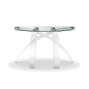 Cassius Acrylic and Silver Demilune Sofa Table
