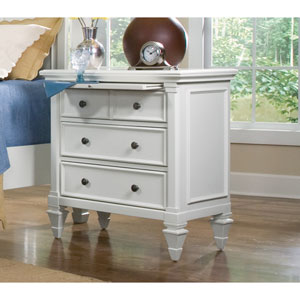 Ashby Patina White Four Drawer Nightstand
