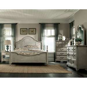 Windsor Lane Poster Bed in Weathered Grey-King