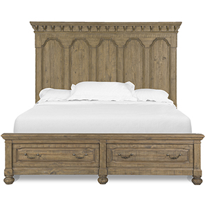 Graham Hills Complete King Panel Storage Bed in Cracked Wheat