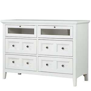 Heron Cove Relaxed Traditional Soft White Media Chest