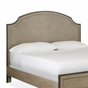 Leyton Park Transitional King Panel Bed Metal and Wood Shaped Headboard