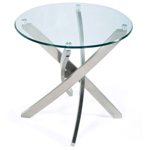 Zila Brushed Nickel Round End Table