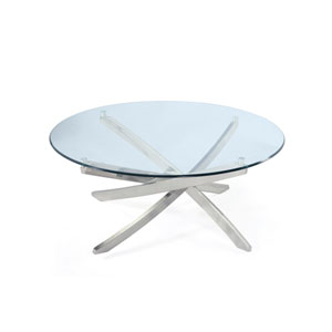 Zila Brushed Nickel Round Cocktail Table