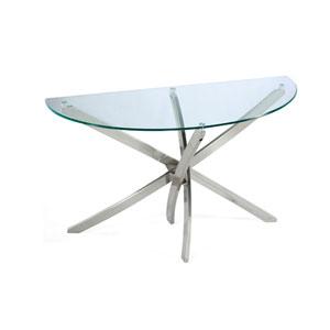 Zila Brushed Nickel Demilune Sofa Table