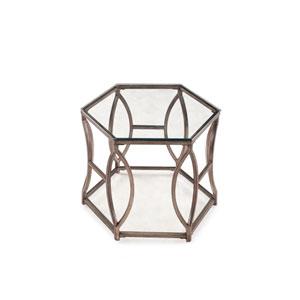 Nevelson Antique Silver Hexagonal End Table