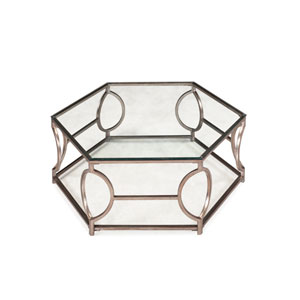 Nevelson Antique Silver Hexagonal Cocktail Table
