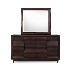 Fuqua Black Cherry Six Drawer Dresser w/ Landscape Mirror
