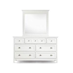 Kentwood White Seven-Drawer Double Dresser w/ Landscape Mirror