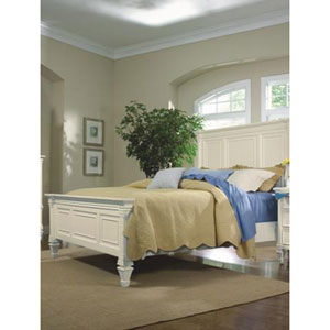 Ashby Patina White Finish w/Contrasting Fired Nickel Hardware Queen Panel Bed