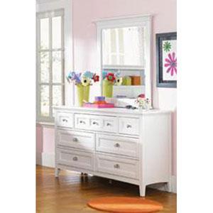 Kenley White Seven-Drawer Dresser W/ Portrait Mirror