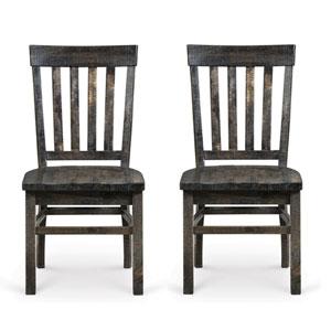 Bellamy Deep Weathered Pine Wood Dining Chair