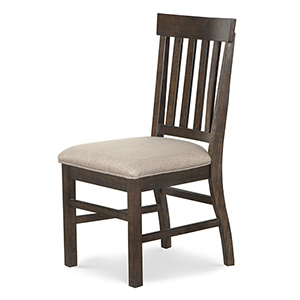 St. Claire Traditional Dining Side Chair with Upholstered Seat in Rustic Pine