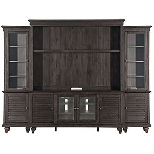 Calistoga Rustic Weathered Charcoal Entertainment Wall
