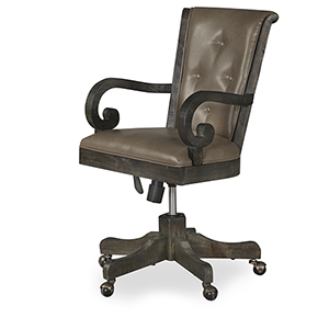 Bellamy Fully Upholstered Desk Chair in Weathered Peppercorn