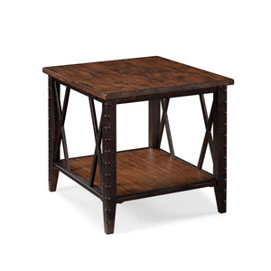Fleming Wood and Metal Rectangular End Table
