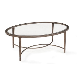 Copia Antique Silver and Metal Oval Cocktail Table