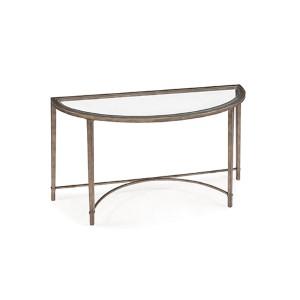 Copia Antique Silver and Metal Demilune Sofa Table