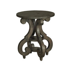 Bellamy Round Accent End Table in Weathered Pine