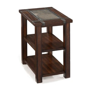 Roanoke Cherry and Slate Rectangular Chairside End Table