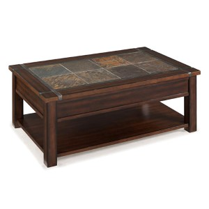 Roanoke Cherry and Slate Lift-Top Cocktail Table with Casters