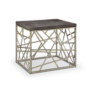 Tribeca Rectangular End Table in Distressed Silver and Smoke Grey