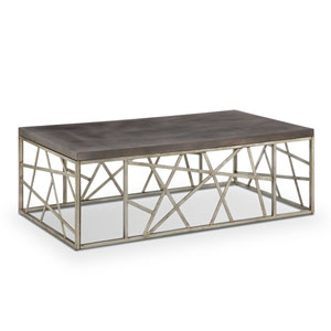 Tribeca Rectangular Cocktail Table in Distressed Silver and Smoke Grey
