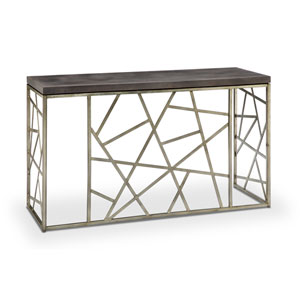 Tribeca Rectangular Sofa Table in Distressed Silver and Smoke Grey