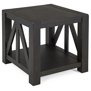 Easton Rustic Rectangular Chairside End Table in Dark Chocolate